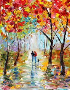 Original oil painting Autumn Walk with the Dog Landscape by Karensfineart