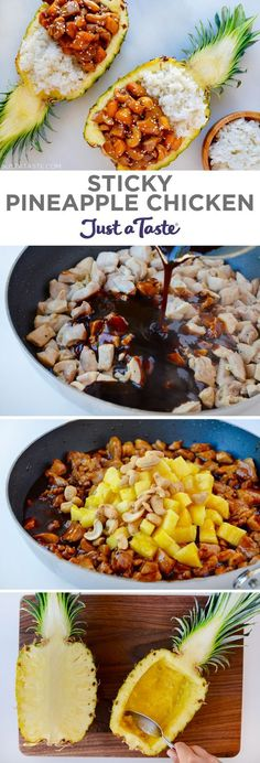 Sticky Pineapple Chicken recipe from justatastecom recipe chicken I Love Food, Good Food, Yummy Food, Pineapple Chicken Recipes, Pineapple Dinner Recipes, Pineapple Curry Chicken, Amazing Chicken Recipes, Healthy Meals With Chicken, Cubed Chicken Recipes