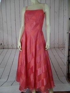 ABS EVENING ALLEN SCHWARTZ Dress 6 Salmon Cocktail Prom Party Gown Retro 50s