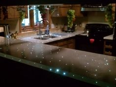 concrete countertop with fiber-optic lights