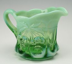 Glass Creamer Transparent and Opaque Northwood by OwlCreekVintage, $41.00