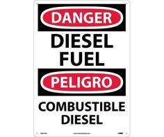 Danger, DIESEL FUEL, Bilingual, 20 X 14, Rigid Plastic