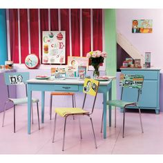 Table de cuisine rectangulaire bleue Kitchen