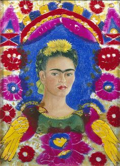 Frida Kahlo  ~  The frame, Self-portrait (1937-38) Oil on aluminum, under glass and painted wood, 28.5 x 20.5 cm