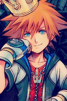 Kingdom Hearts - All hail King Sora Manga Anime, Anime Art, Manga Girl, Anime Girls, Kaito, Final Fantasy, Kh 3, Sora Kingdom Hearts, Kingdom Hearts Crown