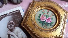 Vintage Miniature  Oil Painting Roses Faux by NostalgiqueBoutique