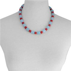 Blue Quartzite, Red Howlite Bracelet and Necklace (Size 20 inch with Extender) in Stainless Steel 81.000 Ct.