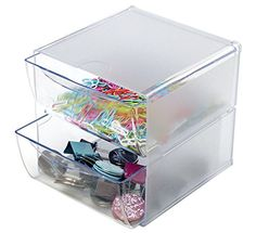 Deflecto Stackable Cube Organizer, Two Drawer (350101CR) Deflecto http://www.amazon.com/dp/B00ZI7OJKC/ref=cm_sw_r_pi_dp_giMOwb1T505HH