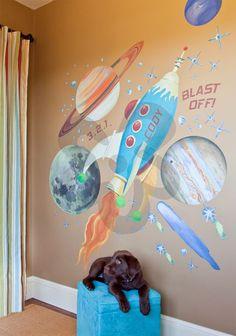 Retro Rocket - Solar System Peel & Place | Oopsy daisy