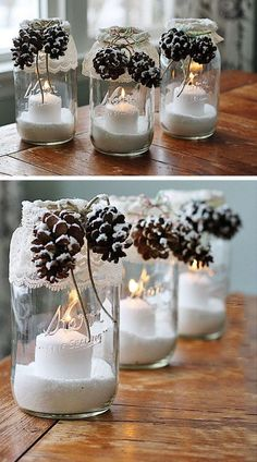 DIY Snowy Pinecone Candle Jar Luminaries. Epsom salt, glass jar, twine, lace, pinecones, candle and hot glue gun are all you need for this simple but awesome winter decor.