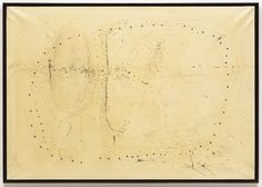 """Fontana sought to escape the """"prison"""" of the flat picture surface to explore movement, time, and space. In 1949 he first developed his Spatial Concepts, puncturing and piercing the surfaces of sheets of paper to reach behind and beyond the illusionistic plane into what he called """"a free space."""" In the late 1950s Fontana began to slash linear cuts into stretched canvases; shedding its materiality, line became coextensive with infinite space."""