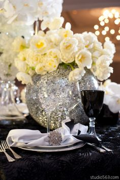 Orchids, crystals, black and white linen, and glamour! Gorgeous VOGUE and Vanity Fair inspired styled shoot by Brass Tacks Events | Premiere Events | STEMS Floral | Studio 563 | Party Central | The Renaissance Hotel    http://www.PremierePartyCentral.com