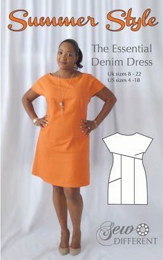 Sewing pattern for women with flattering diagonals and a deep asymmetric pocket. The Essential Denim Dress - but made here without denim this time!! Keep it simple in cool linen or mix and match your fabrics in each panel for something really original! Click to see other version of this dress.