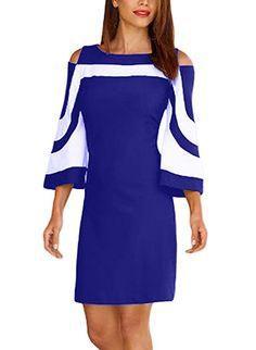 Dokotoo Femme Midi Robe Trapèse Manche 3 4 Patchwork Rayé Epaule Nu Robe de  Soirée ebe5d23dc22cf