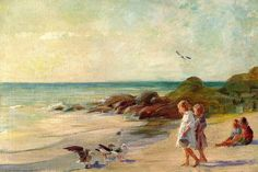Adam Emory Albright - Children Playing on a Sandy Shore