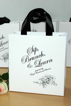 2cb96a24de80 20 Logo Gift Bags with satin ribbon handles and bow - Elegant paper gift  bags for your event