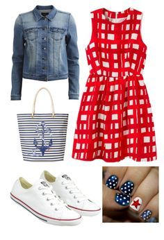 4th of July by kat01523 on Polyvore featuring VILA, Converse and C. Wonder