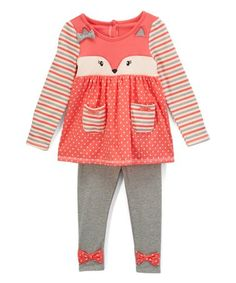 Another great find on #zulily! Coral Fox Face Tunic & Gray Pants - Infant, Toddler & Girls #zulilyfinds