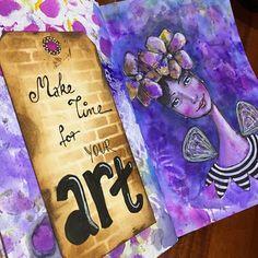 Finally getting my 'art journaling' on.  #artjournaling #kyliefowler #maketimeforyourart #tombowdualbrushpens #dylusionsinkspray #sharpie #posca #tag #mixedmedia #girl #illustration #artwork #artjournal #journalplayground #luluart