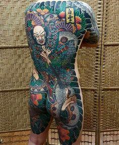 Japanese back tattoo by Japanese Back Tattoo, Japanese Tattoo Designs, Japanese Sleeve Tattoos, Full Body Tattoo, Arm Tattoo, Body Art Tattoos, Yakuza Tattoo, Tatoos, Great Tattoos