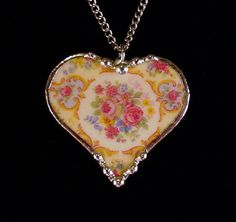 Parisian roses. Broken china jewelry heart pendant necklace. Made from a broken china plate by Dishfunctional Designs