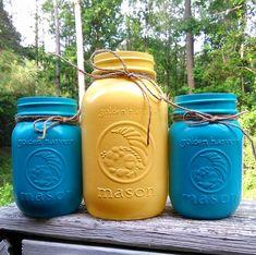 Painted mason jar- Yellow Mason Jars- Mason jar vase- Mason jar set- Home Decor- Yellow mason jar- Quart mason jars- colored mason jars- jar by RedRusticRoses on Etsy