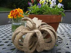 Fall Pumpkin Wedding Table Decor made with Mason Jar lid rings by Mountain Woman Products on etsy