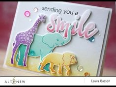 Look at this adorable card! The aminal stamps  used are so cute and colorful that you will have a smile on your face. Visit our blog to learn more about this project. http://altenewblog.com/2016/11/29/video-multi-inking-baby-zoo-stamp-set/ Altenew Website: https://altenew.com/