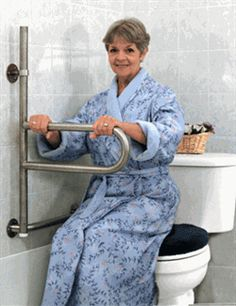 The Dependa-Bar Pivoting Grab Bar is designed for bathing, toileting and other environments where grab bars are found. This ADA compliant safety grab bar combines the sturdiness of a wall mounted grab bar and the functionality of a dual support rail that pivots and moves in step during standing and transfers.