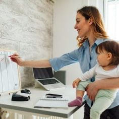 Mother working from home while carrying her cute baby girl. Cute Baby Girl, Cute Babies, Parents, Science For Kids, Parenting Advice, Running Women, Baby Photos, Pregnancy, Bring It On