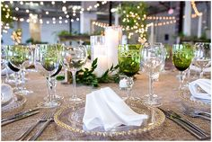Green Gold Wedding Table Setting