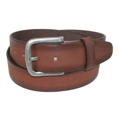 A great choice for a casual jean belt. The burnished leather gives it the worn look of a favorite belt. The antiqued finish buckle is removable so that you can replace it with your own. Measures 1.5 inches (38mm) wide.