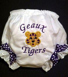 LSU Diaper Cover Panty Appliqued LSU Tiger