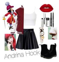 """""""Daughter of Captain Hook: Andrina Hook"""" by evyp247 ❤ liked on Polyvore featuring Topshop, MSGM, Dr. Martens, Lime Crime, Bobbi Brown Cosmetics, Tiffany & Co., women's clothing, women, female and woman"""
