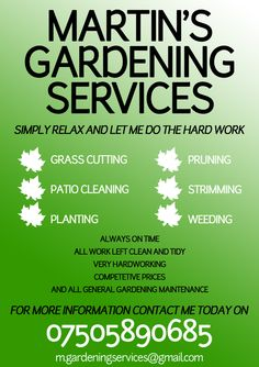 Gardening Advertising Ideas . Gardening Services, Garden Windows, Advertising Ideas, Leaflets, Let It Be, Pools, Business Cards, Box, Poster