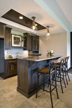 shaker style custom cabinets, crown molding, panel ends, panelized ends, basement bar Home Bar Design, Home, Basement Decor, Basement Bar, Home Remodeling, Basement Kitchenette, Basement Design