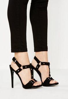 49211e6eb15ff6 Missguided Black Harness Trim Gladiator Heeled Sandals Gladiator Sandals  Heels