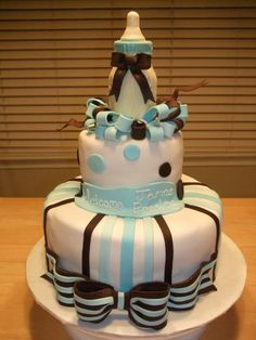 Baby Boy Shower Cake. Baby Bottle made out of white chocolate. in Baby shower cakes by