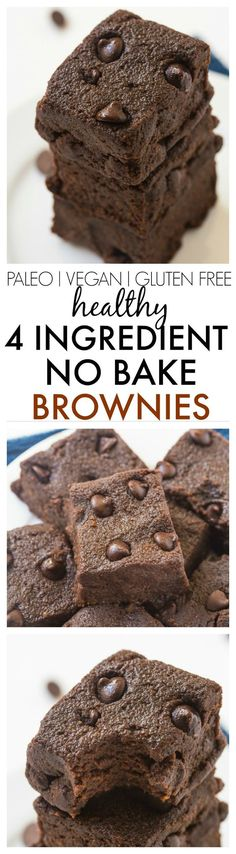Healthy 4 Ingredient No Bake Brownies- SO moist, gooey and fudgy but with NO butter, oil, sugar, eggs or odd ingredients and ready in no time! {vegan, gluten free, paleo recipe}