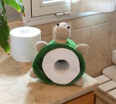 PDF Crochet pattern Toilet Paper Cover or Hat  Turtle - BATHroom decor & Beanie children accessory - Instant Download