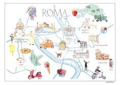 The city of Rome, Italy. Ciao Roma! illustrated map for Tiramisushi.com