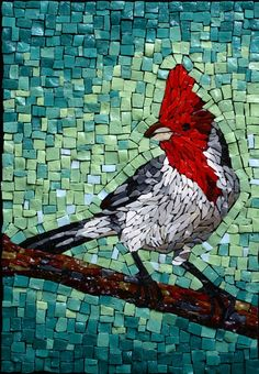 """""""Cardeal"""" mosaic by Cintia Cimbaluk Mosaic Artwork, Mosaic Wall, Mosaic Glass, Butterfly Mosaic, Mosaic Birds, Mosaic Animals, Glass Animals, Mosaic Crafts, Mosaic Projects"""