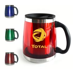 stainless steel lined double wall travel mug. This travel mug is great for your desk and keeps your drink of choice hot! Travel mug comes in 4 bold colors the choice is yours! Travel mug comes with black lid. Custom Travel Mugs, Morning Joe, Ny Usa, Porcelain Mugs, Bold Colors, Desktop, Company Logo, Stainless Steel, Ceramics