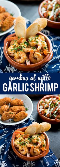 Garlic Shrimp (Gambas al Ajillo) are a classic Spanish tapas dish. Succulent shrimp in a spicy garlicky sauce that you will need to dip your bread into! This garlic shrimp is a simple tapa dish that is garlicky and spicy. Tapas Recipes, Fish Recipes, Seafood Recipes, Appetizer Recipes, Cooking Recipes, Tapas Ideas, Shrimp Appetizers, Party Recipes, Spanish Cuisine