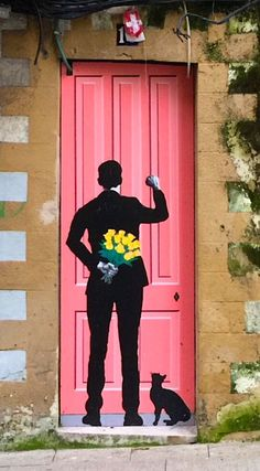 Painted Silhouette door in Santander, Cantabria, Spain.