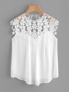 Shop Keyhole Back Daisy Lace Shoulder Shell Top online. SheIn offers Keyhole Back Daisy Lace Shoulder Shell Top & more to fit your fashionable needs. Diy Fashion, Ideias Fashion, Fashion Dresses, Shell Tops, White Caps, Summer Blouses, Lace Tops, Refashion, Diy Clothes