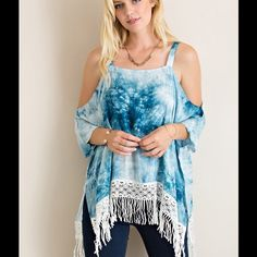 COMING SOON!! Tie Dye Cold Shoulder Top Sizes S, M, L. Photos used with vendor permission. Southern Charm Boutique Tops Blouses