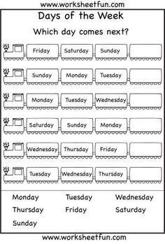 Days of the Week Worksheet by arlene
