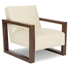 Roma Square Chair, Cream Leather