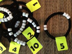 Math Coach's Corner: Using Number Bracelets to Develop Number Sense. Number bracelets provide concrete practice for number combinations and composing/decomposing numbers. Check out this post for instructions for making and using number bracelets. Math For Kids, Fun Math, Math Activities, Decomposing Numbers, Math Numbers, Learning Numbers, Math Classroom, Kindergarten Math, Math Literacy